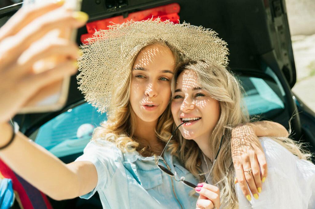 Beautiful Lesbian Couple Taking Selfie