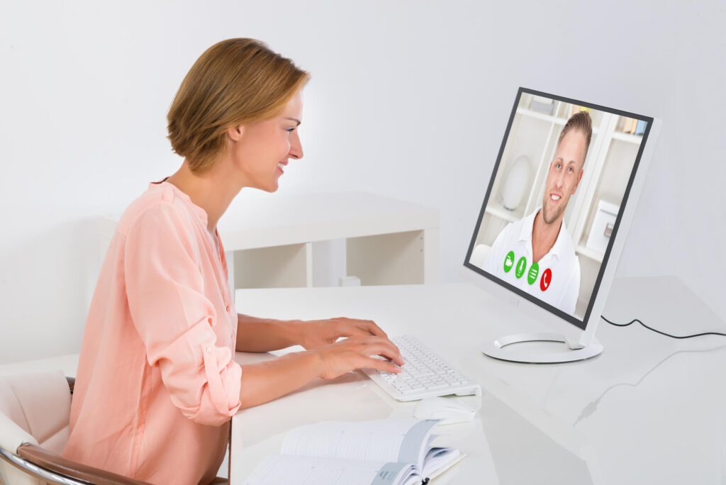 Girl talking via video call